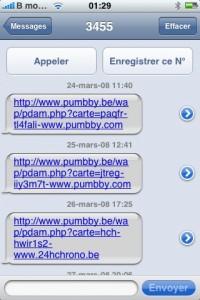 Réception SMS de pub