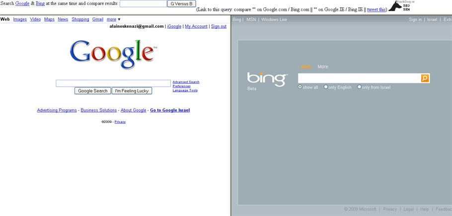 Site de comparaison Google et Bing