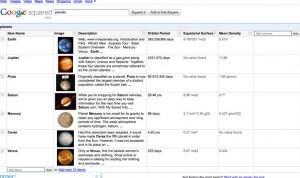 Google Squared - Test de recherche