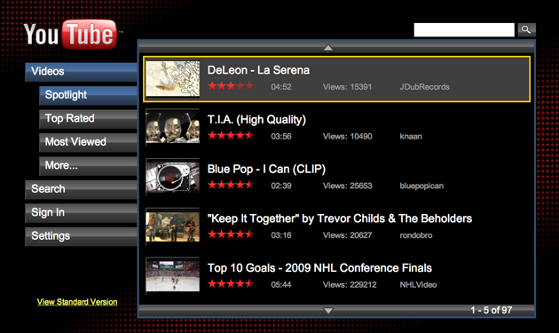 YouTube XL interface