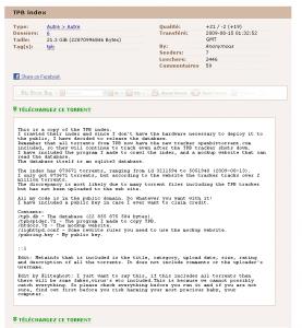Télécharger la base de données de The Pirate Bay