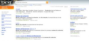 Recherche de moteur de recherche dans Bing
