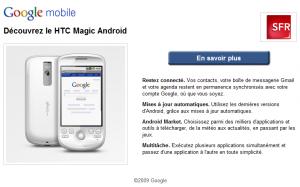 Partenariat de Google avec SFR pour l'HTC Magic