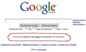 Google publicité HTCMagic