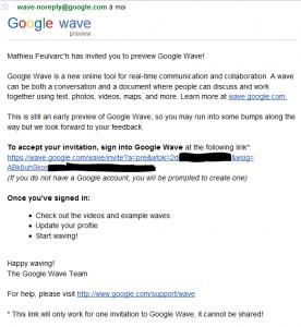 Email de confirmation de création de compte Google Wave