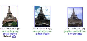 Exemple d'une recherche avec Google Similar Images