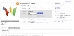 Acheter une invitation Google Wave sur Ebay