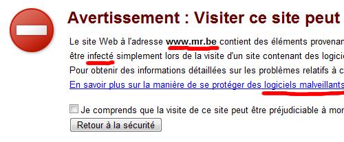Le site MR.be peut être préjudiciable à mon ordinateur !