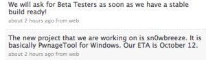 Snowbreeze - Tweet de recrutement des beta testeurs