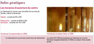 Horaires d'ouverture du Louvre