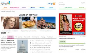 Nouvelle page pour MSN