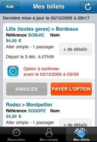 Application iPhone - Billet de train SNCF
