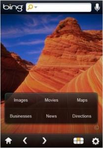 Bing sur iPhone - Accueil