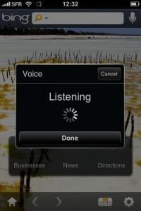 Bing sur iPhone - Reconnaissance Vocale