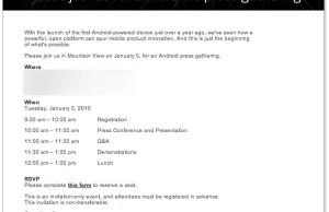 Invitation événement Google 5 janvier 2010