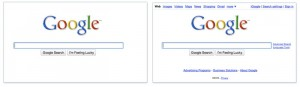 Page minimaliste de Google avec apparition en fade-in