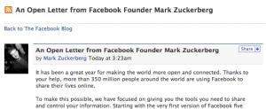 Lettre ouverte de Marc Zuckerberg