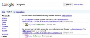 Real time Search sur Google