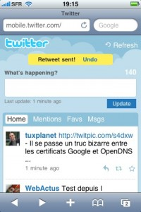 Twitter Mobile - Retweet fonction