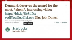 Tweet sous la compte StarBuck par Brad Nelson