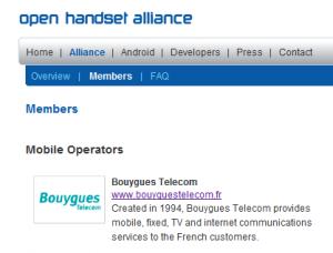 Inscription de Bouygues Télécom à l'Open Handset Alliance