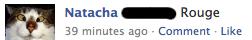 Status coloré d'une de mes contacts Facebook