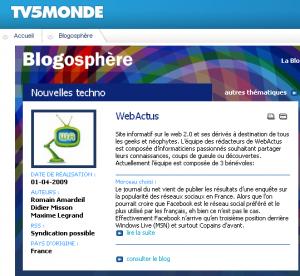 Webactus sur Tv5.org