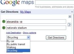 Google Maps pour vélo