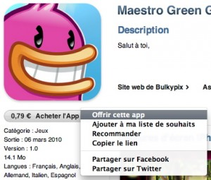 iTunes - Offrir application