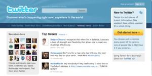 Nouvelle page d'accueil de Twitter