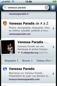 yahoo search sur iPhone