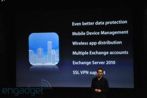 iPhone OS 4 pour l'entreprise