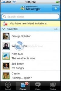 Windows Live Messenger sur iPhone: Contacts