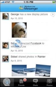 Windows Live Messenger iPhone: réseaux sociaux
