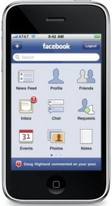 Application Facebook sur iPhone