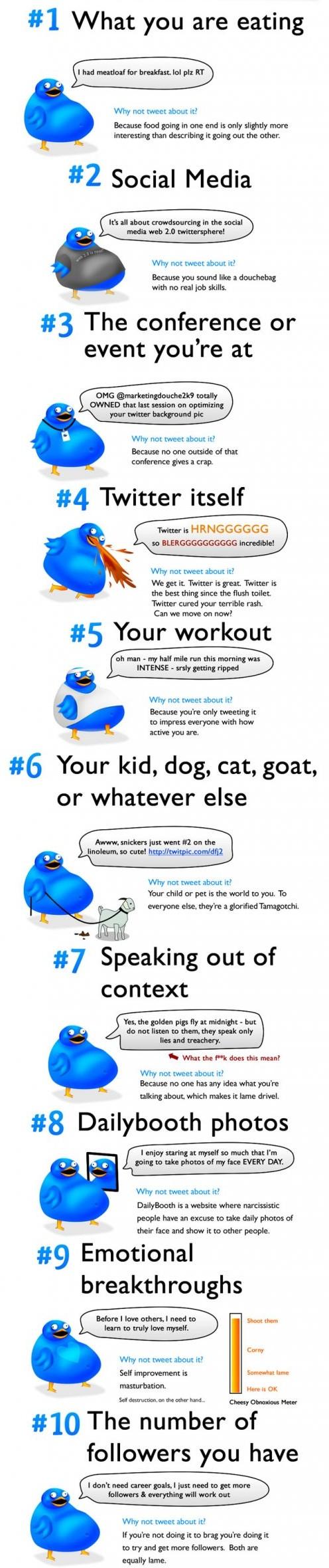 10 choses que vous ne devriez pas tweeter