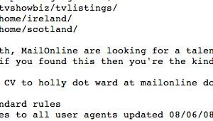 Offre d'emploi dans le fichier robots.txt