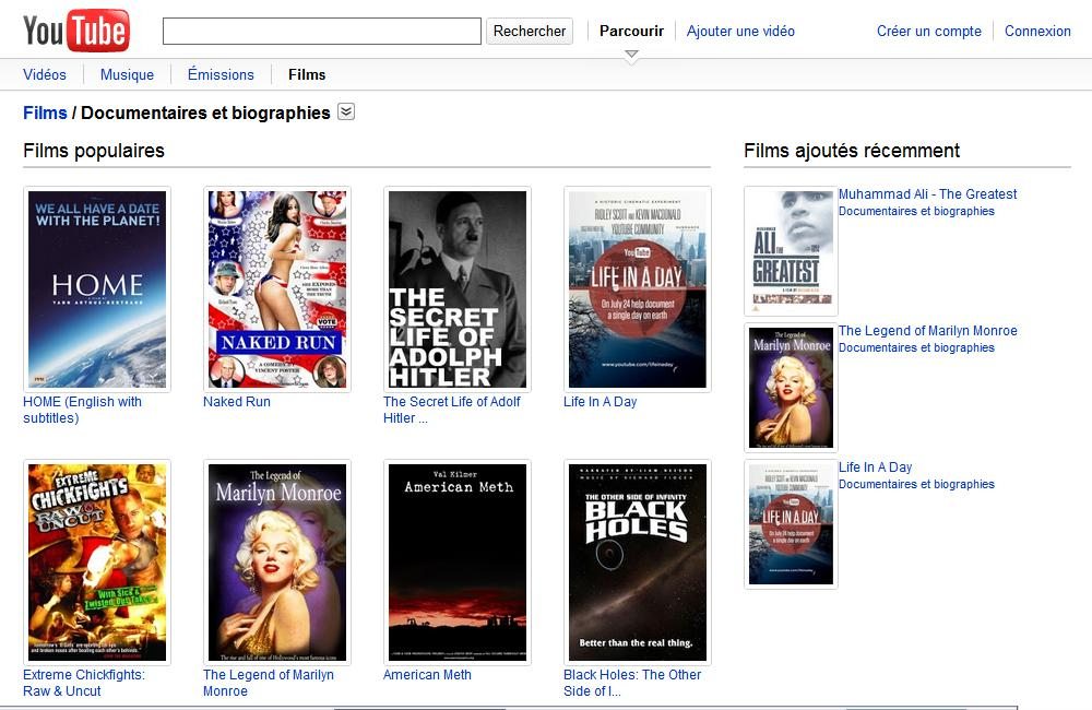 youtube movies 400 films regarder gratuitement. Black Bedroom Furniture Sets. Home Design Ideas