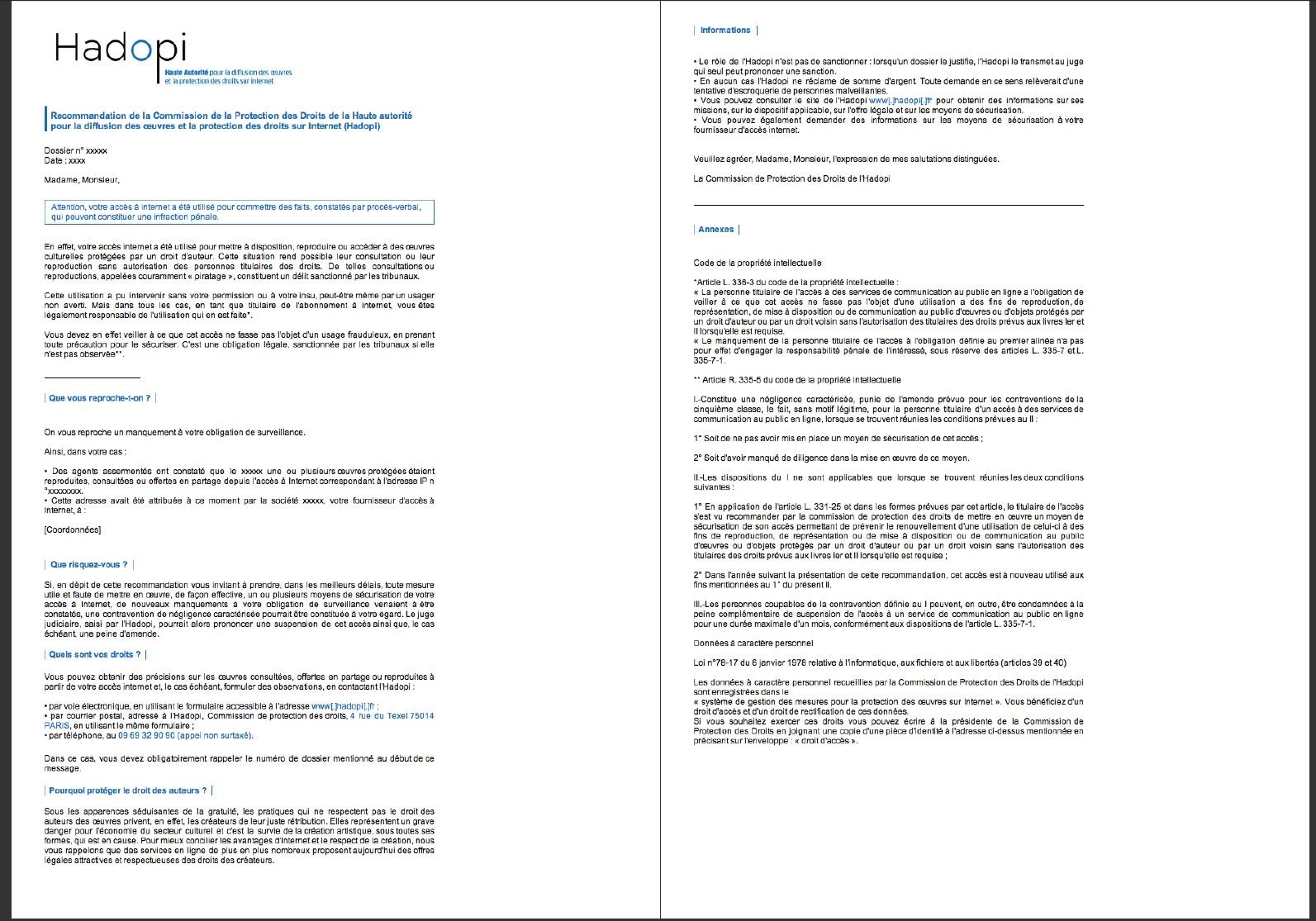 L Email D Avertissement Type Envoye Par Hadopi Est Connu