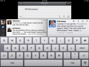 Système de réponse sur l'application twitter iPad