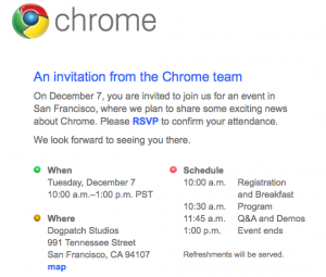 invitation Google Chrome OS