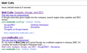 Exemple site matt cutts compromis