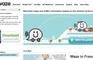 Page d'accueil Waze