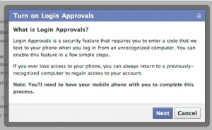 Facebook - Sécurité au login