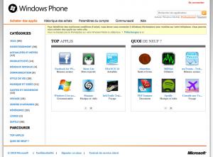 MarketPlace Windows Phone 7