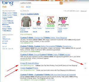 Publicités dans Bing