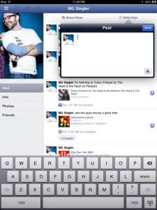 Application Facebook pour iPad
