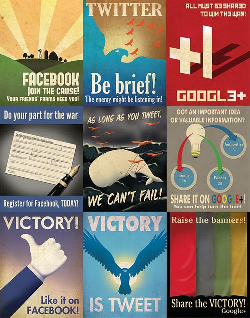 Des affiches propagandes pour les réseaux sociaux