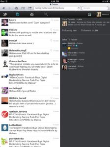Twitter web pour tablette tactile