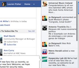 Publicités sur Facebook Ticker